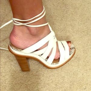 Calvin Klein leather strap heels w/ankle ties