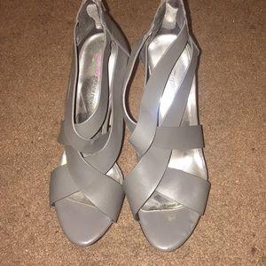JustFab Hazel Gray Chunky Heels