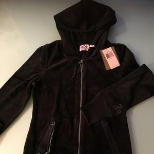 JUICY COUTURE NEW Black Velour Long sweatshirt M