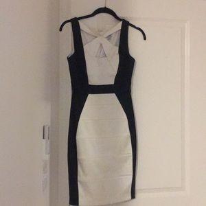 Cache bodycon dress black and white stretch midi s