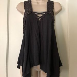 FREE PEOPLE Grey Cross Back Tank with Lace Detail