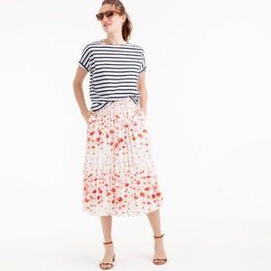 J. Crew Pleated midi skirt in flamingo print