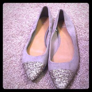 Grey and glitter flats.