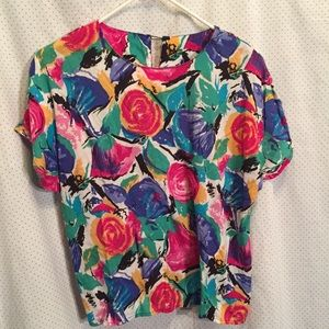 Vintage shirt vibrant abstract floral S/M