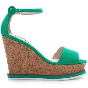 Green suede Zara cork wedges