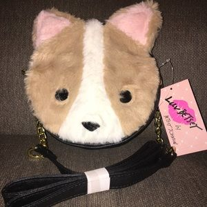 NWT Betsey Johnson furry dog purse