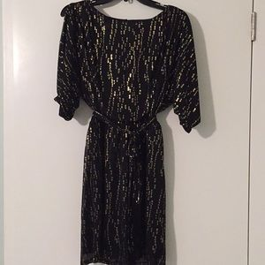Jessica Simpson black and gold leopard sash dress