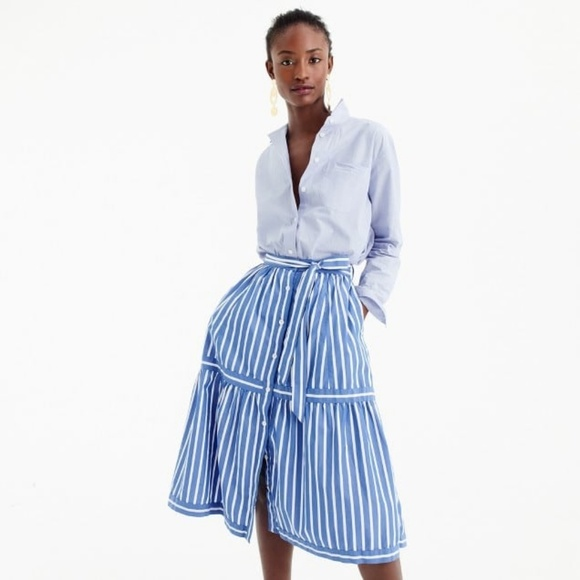 2ee4e833f228 J. Crew Button-front striped skirt