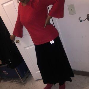 Black long velvet skirt