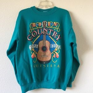 90s Country Louisiana Guitar Music Green Crewneck