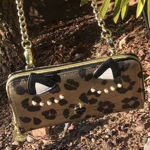 Betsey Johnson sleeping wildcat leopard crossbody