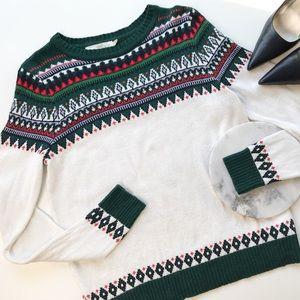 H&M L.O.G.G. Fair Isle Alpaca Blend Sweater Size S