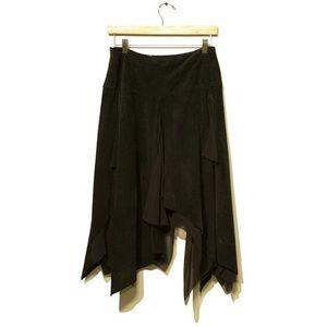 DKNY Black Leather Seude + Silk Skirt