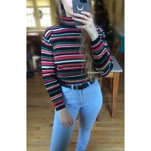 🍁 Vintage 90's Striped Chunky Knit Sweater 🍁
