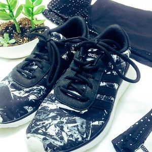 Adidas black and white patterned sneakers