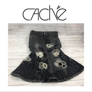 Cache Embroidered Flare Skirt. Sz 4