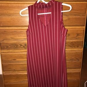 Maroon pin stripe dress