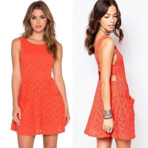Free People Poppy Lace Mini Dress in Persimmon