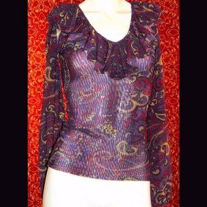 ALEX MARIE purple paisley nylon mesh blouse S
