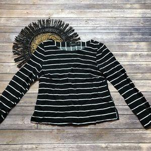 MinkPink Black White Striped Long Sleeve Blouse