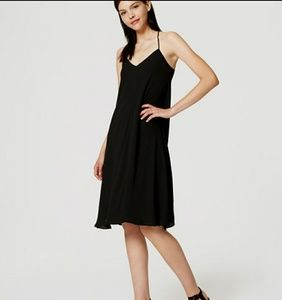 NWT LOFT black strappy racerback dress