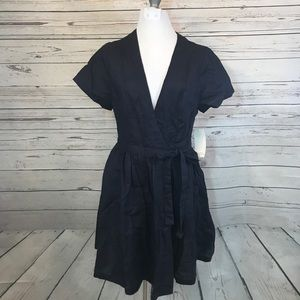 NWT Tobi Nasty Gal blue linen wrap dress