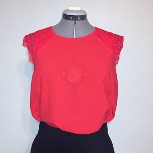 J. Crew Factory Red Lace Blouse Lace Sleeves 8