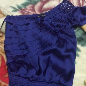 Dark Blue one sleeve top