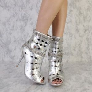 Silver Chain Link Peep Toe Boots