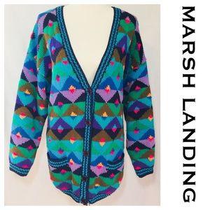 Vintage Marsh Landing Knit Geometric Cardigan 80's