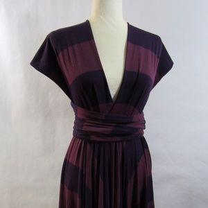 Butter By Nadia Purple Stripe Signature Wrap Dress