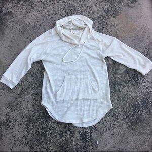 No Boundaries Cream Gold Sheer Sweater Hoodie