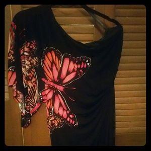 Off the shoulder Bisou Bisou Butterfly Dress