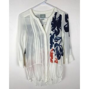 Maeve White Floral Button Down