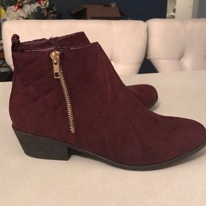 Red velvet ankle booties
