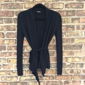 Express Black Open-Front Belted Cardigan, Size S