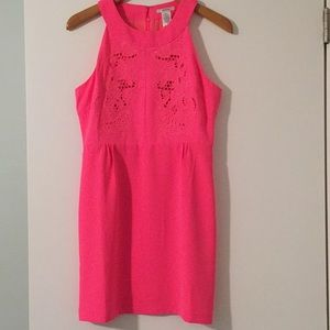Lulus hot pink embroidered dress
