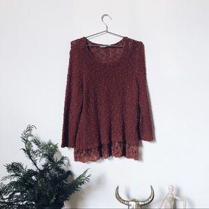 CATO • burnt orange sweater with lace hem