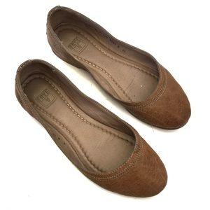 "Frye cognac tan leather ""Carson"" ballet flats 6"