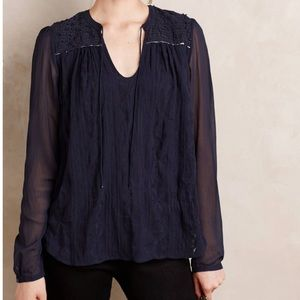 Anthropologie TINY Paix Embroidered Split Neck Top