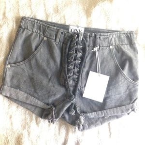 One Teaspoon Phantom Superfreak Lace Up Shorts