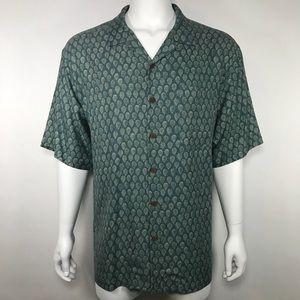 Tommy Bahama XL Silk Print Button Down Shirt