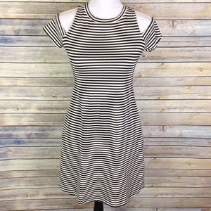 Zara cold shoulder striped dress