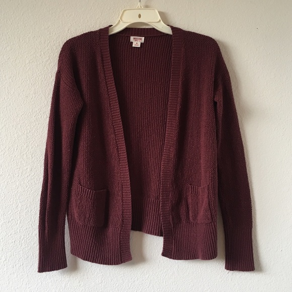 56% off Mossimo Supply Co Sweaters - Dark Red Knit Cardigan ...