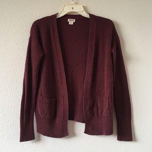 Dark Red Knit Cardigan Sweater Pockets Mossimo