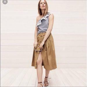 J.Crew Khaki Button-Front Chino Skirt.