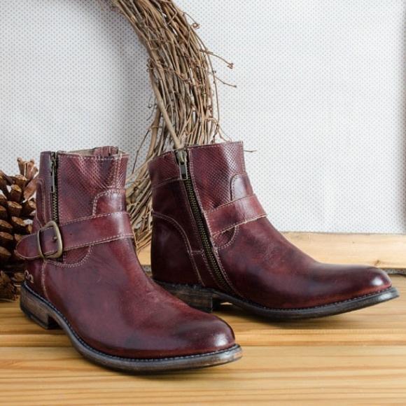 5c3fa16ff9fd Bed Stu Womens Blanchett Mid Calf Boots Distressed Stacked Heel Source · Bed  Stu Shoes Becca Scarlett Poshmark