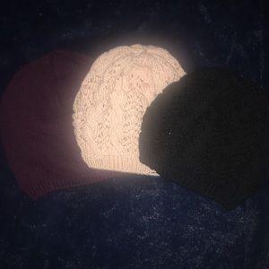 3 h&m knit beanies