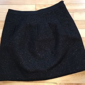 LOFT 6P Black Skater Mini Sparkly Textured