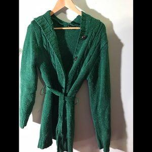 Pretty green long hooded Cardigan